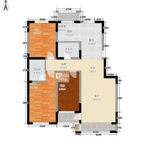 万盛中央一品3室0厅2卫0厨138.00㎡户型图