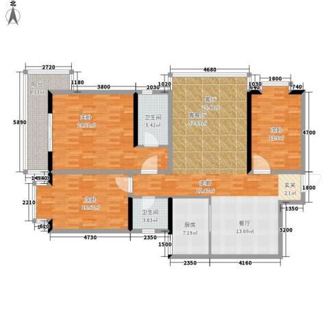 龙洲新城3室1厅2卫1厨185.00㎡户型图