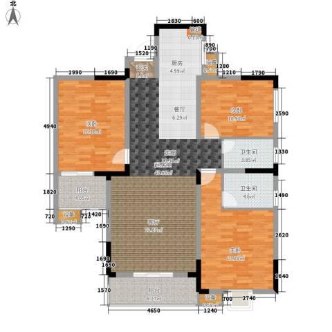 枫雅名苑3室0厅2卫0厨128.00㎡户型图