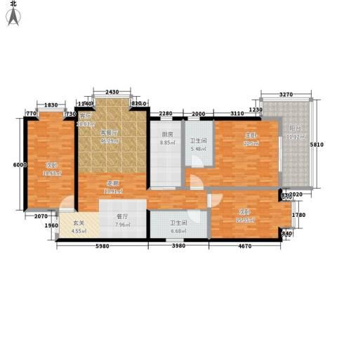 龙洲新城3室1厅2卫1厨187.00㎡户型图
