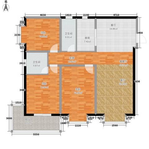 龙洲新城3室1厅2卫1厨195.00㎡户型图