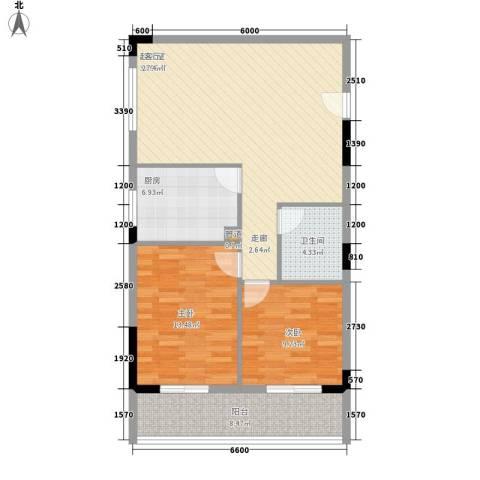 御景名苑2室0厅1卫1厨90.00㎡户型图