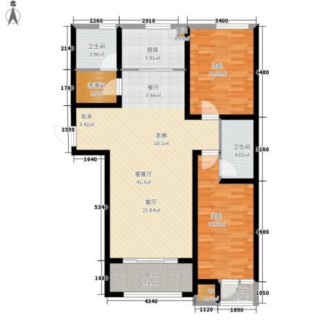上城尔湾2室1厅2卫1厨110.00㎡户型图