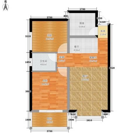 龙洲新城2室1厅1卫1厨98.00㎡户型图