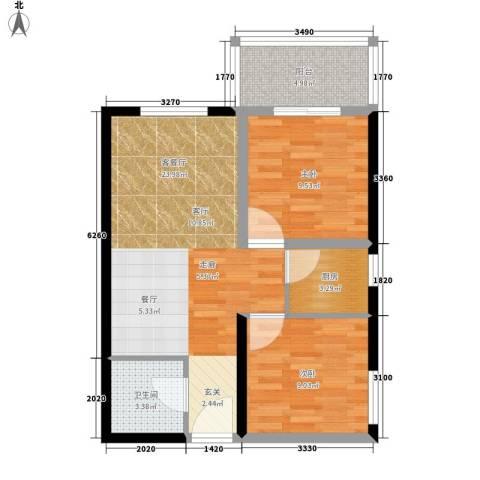 龙洲新城2室1厅1卫1厨78.00㎡户型图