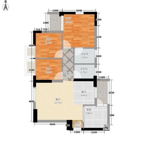 瑞安花园3室1厅2卫1厨88.00㎡户型图
