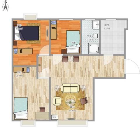 夏威夷・蓝湾3室1厅1卫1厨81.00㎡户型图