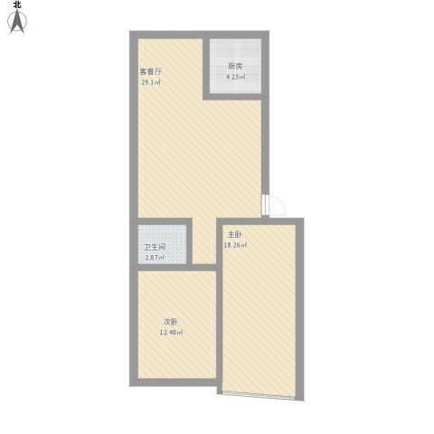 世家花园2室1厅1卫1厨96.00㎡户型图