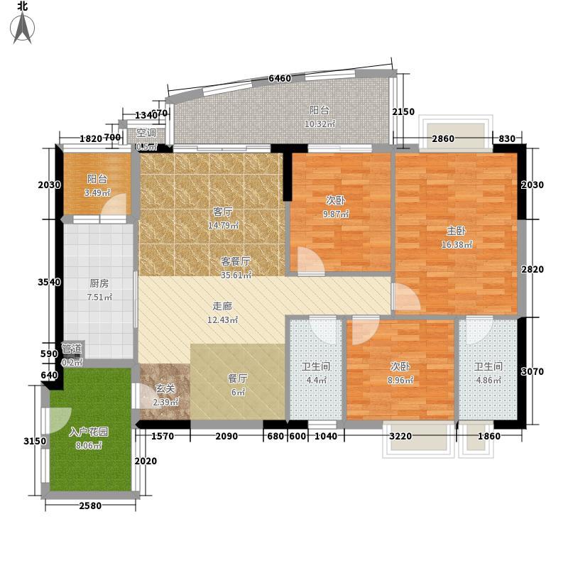 瑞安花园123.87㎡2―29层04单元3室户型