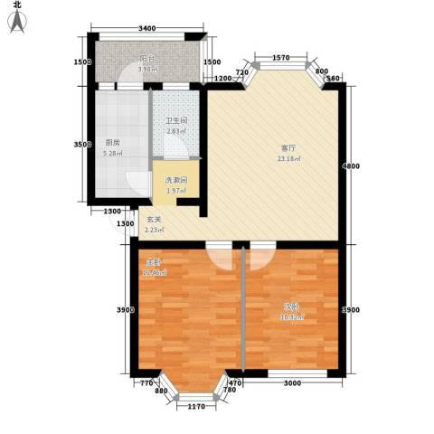 华泰世纪新城2室1厅1卫1厨84.00㎡户型图