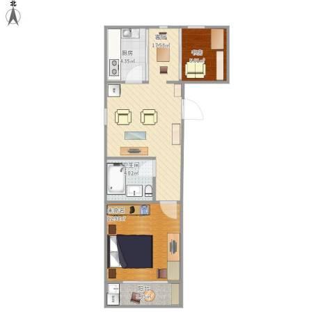开鲁三村1室1厅1卫1厨64.00㎡户型图