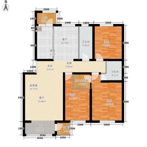 华泰世纪新城3室0厅2卫1厨155.00㎡户型图