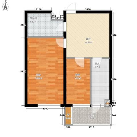 华泰世纪新城2室1厅1卫1厨79.00㎡户型图
