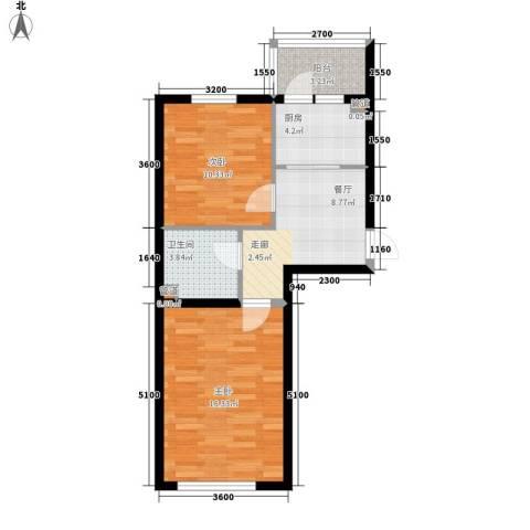 华泰世纪新城2室1厅1卫1厨68.00㎡户型图