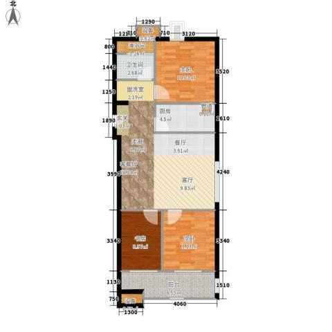 居易时代3室1厅1卫1厨77.00㎡户型图