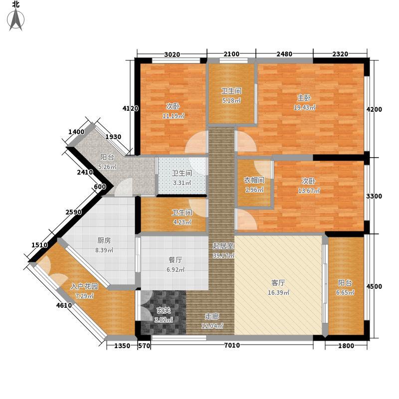 京基滨河时代·时代公寓155.00㎡京基滨河时代-D2、D3栋A--户型3室2厅