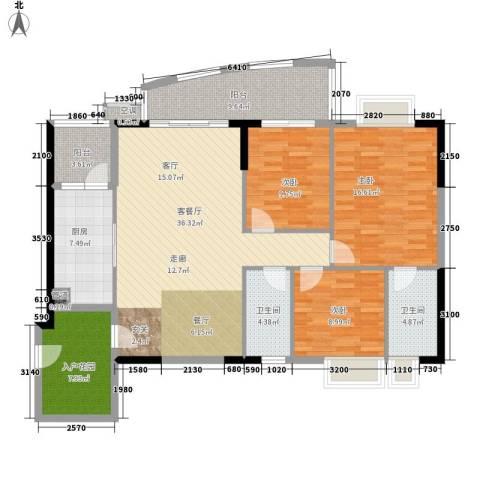 瑞安花园3室1厅2卫1厨124.00㎡户型图