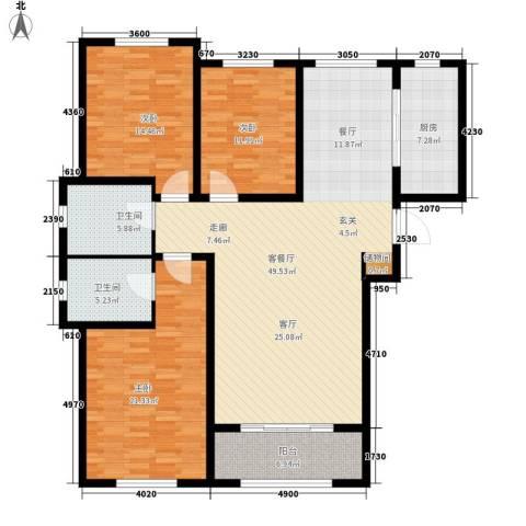 花香漫城3室1厅2卫1厨172.00㎡户型图