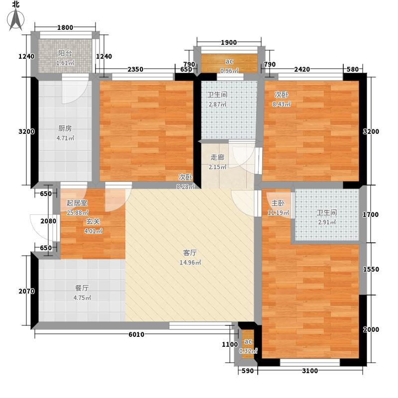 COCO蜜城78.93㎡C1户型3室2厅