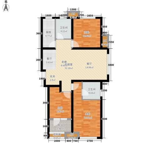 肯彤国际3室0厅2卫1厨123.00㎡户型图