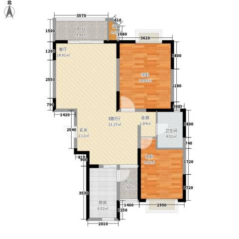 花苑新村2室1厅1卫1厨85.00㎡户型图