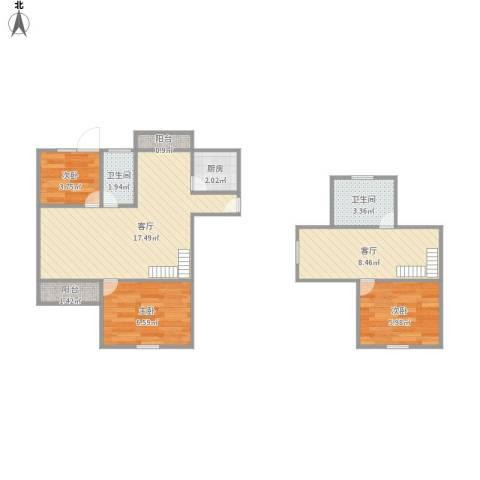 景舒苑一村3室2厅2卫1厨72.00㎡户型图