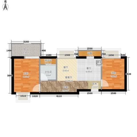 居易时代2室1厅1卫0厨50.00㎡户型图