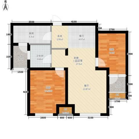 肯彤国际2室0厅1卫1厨91.00㎡户型图