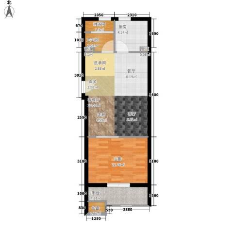 居易时代1室1厅1卫1厨52.00㎡户型图