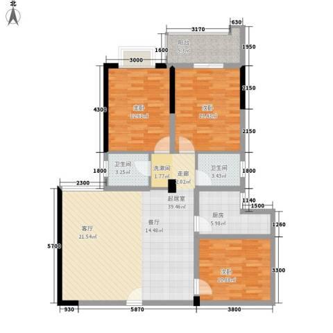 天心华庭3室0厅2卫1厨133.00㎡户型图