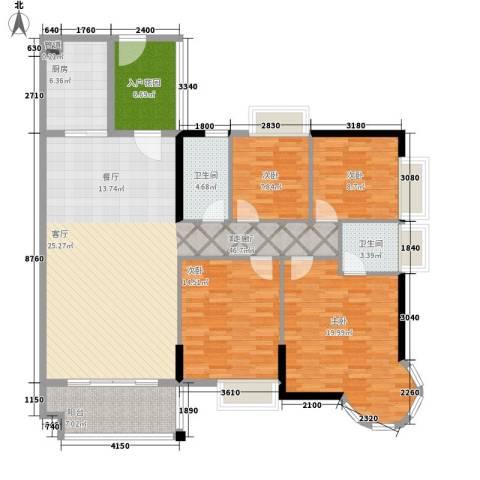 瑞安花园4室1厅2卫1厨139.00㎡户型图