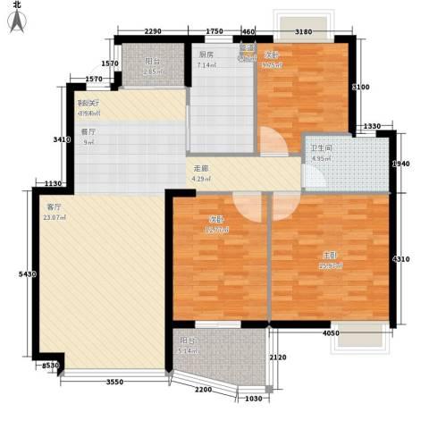 天赐良园3室1厅1卫1厨110.00㎡户型图