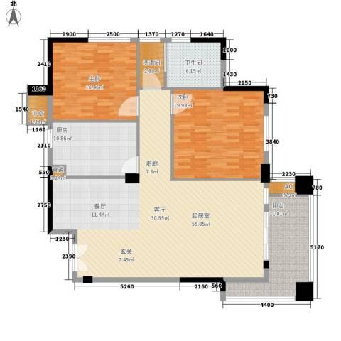 华盛世纪新城2室0厅1卫1厨137.00㎡户型图