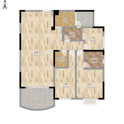新世纪花园3室1厅2卫1厨146.00㎡户型图