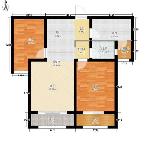 花香漫城2室1厅1卫1厨116.00㎡户型图