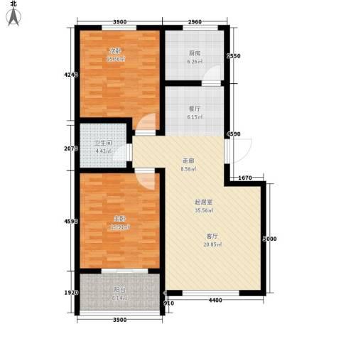 天域嘉园2室0厅1卫1厨95.00㎡户型图