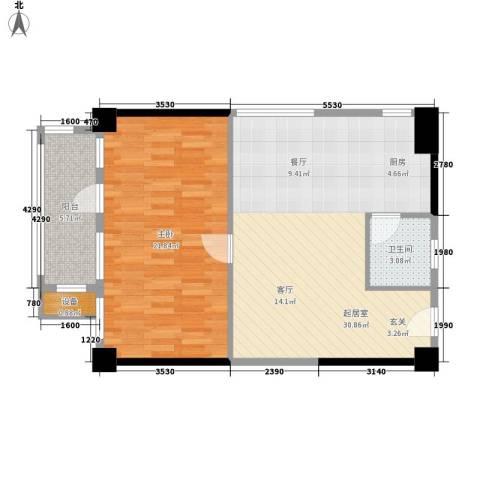 天心华庭1室0厅1卫0厨68.00㎡户型图