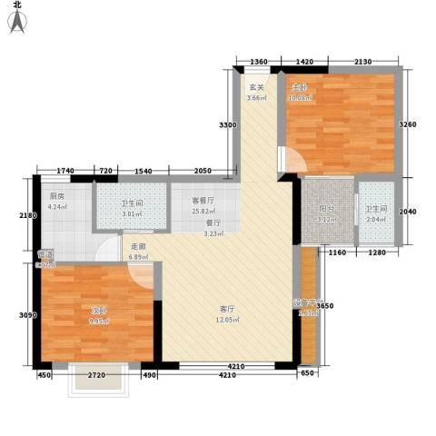 山水蓝天2室1厅2卫1厨87.00㎡户型图