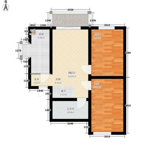 玫瑰园西村2室1厅1卫1厨86.00㎡户型图