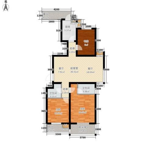 嘉实蓝岸3室0厅2卫1厨122.00㎡户型图