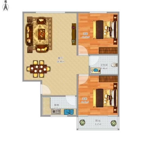 芙蓉苑三期2室1厅1卫1厨81.00㎡户型图