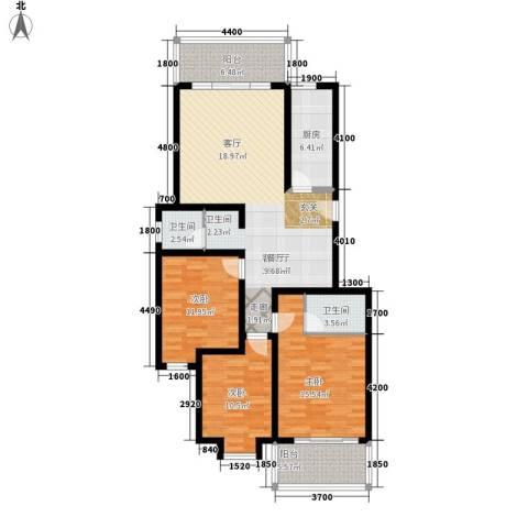 宏华花苑3室1厅2卫1厨117.00㎡户型图
