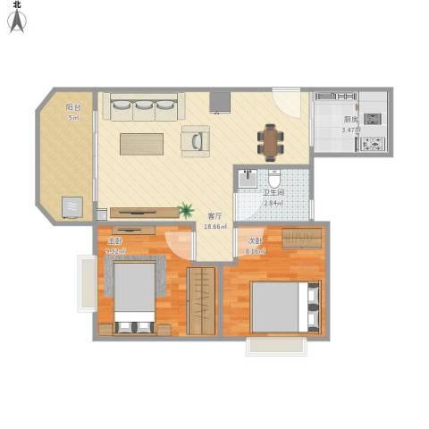 景尚雅苑2室1厅1卫1厨65.00㎡户型图