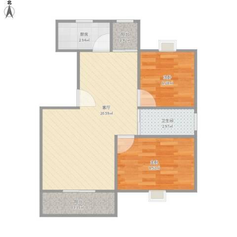 白雪公主2室1厅1卫1厨50.45㎡户型图