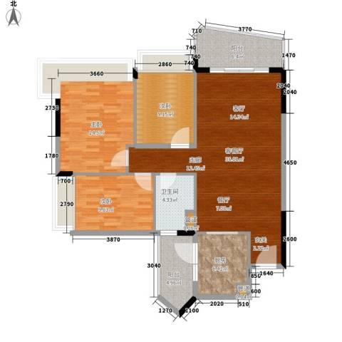 雅居乐海南清水湾3室1厅1卫1厨96.00㎡户型图