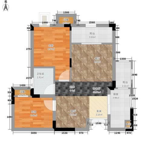 鲁能领秀城1室1厅1卫1厨58.00㎡户型图