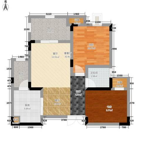 鲁能领秀城1室1厅1卫1厨65.00㎡户型图