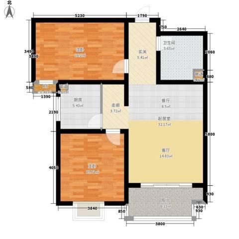 左岸阳光2室0厅1卫1厨92.00㎡户型图