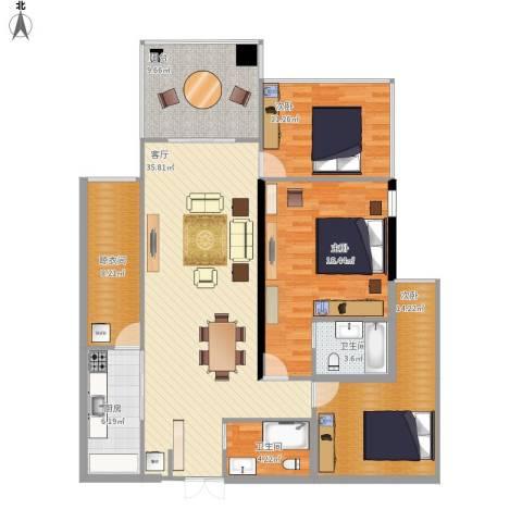 云立方3室1厅2卫1厨154.00㎡户型图