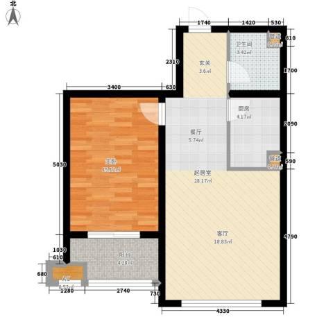 左岸阳光1室0厅1卫1厨66.00㎡户型图